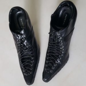 Granny Victorian witch pointy lace boots heels